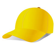 желтый цвет вектора бейсбольной кепки Стоковые Изображения