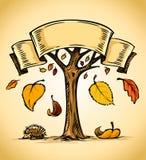 желтый цвет вектора вала листьев осени понижаясь Стоковое фото RF