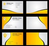 Желтый цвет визитной карточки установленный Стоковые Фотографии RF