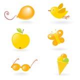 желтый цвет влюбленности малышей Стоковое Изображение