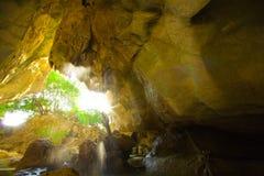 желтый цвет водопада pha nang koi grotto подземелья стоковые изображения rf