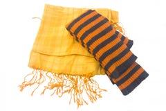 желтый цвет гетры striped шарфом Стоковая Фотография