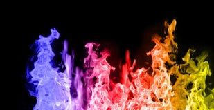 желтый цвет голубых пламен красный Стоковые Изображения RF