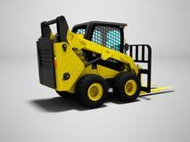 Желтый цвет грузоподъемника с scuffs для нагружать 3d для того чтобы представить на сером backgr иллюстрация вектора