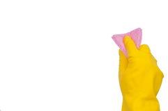 желтый цвет губки пинка руки перчатки Стоковое Фото