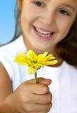 желтый цвет девушки маргаритки Стоковая Фотография