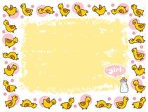 желтый цвет девушки рамки duckies Стоковые Изображения