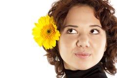 желтый цвет девушки цветка Стоковые Изображения RF
