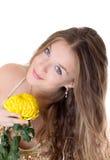 желтый цвет девушки цветка Стоковая Фотография RF