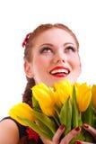 желтый цвет девушки florets Стоковое Изображение RF