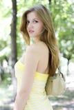 желтый цвет женщины платья Стоковая Фотография RF