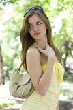 желтый цвет женщины платья Стоковое фото RF