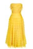 желтый цвет женщины платья Стоковое Фото