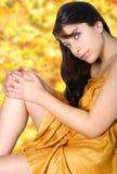 желтый цвет женщины спы дня Стоковые Изображения RF