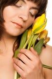 желтый цвет женщины цветка Стоковое Изображение RF