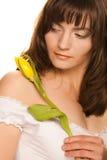 желтый цвет женщины цветка Стоковая Фотография RF
