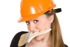 желтый цвет женщины шлема конструкции милый стоковое фото