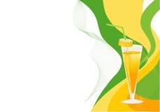 желтый цвет зеленого цвета коктеила карточки Стоковое фото RF