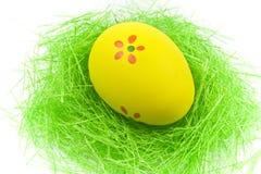 желтый цвет зеленого цвета травы одного пасхального яйца Стоковое фото RF
