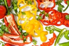 желтый цвет зеленых перцев красный Стоковое Фото