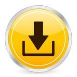 желтый цвет иконы download круга Стоковое фото RF