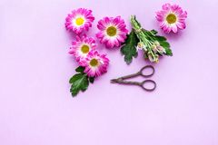 желтый цвет картины сердца цветков падения бабочки флористический Сделайте концепцию букета Пинк цветет около sciccors на фиолето Стоковое фото RF