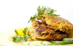 желтый цвет картошки плиты еды forcemeat Стоковая Фотография