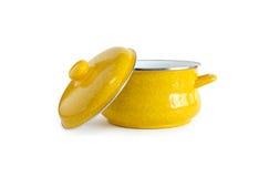 желтый цвет кастрюльки крышки Стоковые Фото