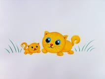 желтый цвет котов Иллюстрация штока