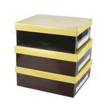 желтый цвет крышек коробок коричневый Стоковые Фото