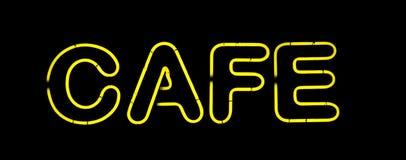желтый цвет неонового знака кафа стоковые фотографии rf