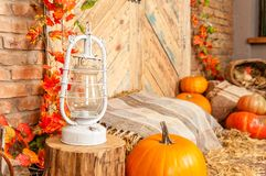 Желтый цвет осени выходит, тыквы, осень, солома, деревянная дверь на предпосылке Стоковое Фото