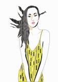желтый цвет платья иллюстрация штока