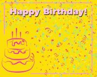 желтый цвет поздравительой открытки ко дню рождения счастливый Иллюстрация вектора