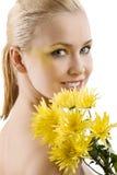 желтый цвет портрета цветка красотки Стоковые Фотографии RF