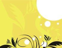 желтый цвет предпосылки черный флористический Стоковые Фотографии RF
