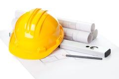 желтый цвет проекта плана дома шлема конструкции Стоковые Изображения RF