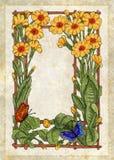желтый цвет рамки цветков иллюстрация штока