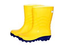 желтый цвет резины пар ботинок Стоковые Изображения RF