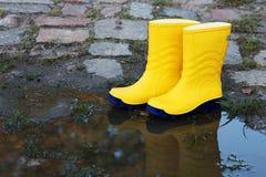 желтый цвет резины пар ботинок стоковое изображение rf
