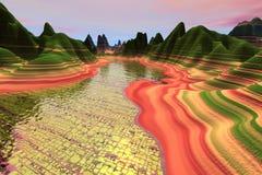 желтый цвет реки кирпича Стоковая Фотография