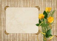 желтый цвет розы праздника карточки Стоковое фото RF