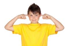 желтый цвет рубашки t ушей заволакивания ребенка смешной Стоковые Фотографии RF