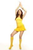 желтый цвет секса девушки платья Стоковое фото RF