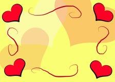 желтый цвет сердец рамки Иллюстрация вектора