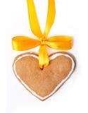 желтый цвет сердца имбиря хлеба смычка Стоковое Изображение