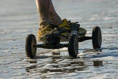 желтый цвет скейтборда ботинок змея Стоковое Фото