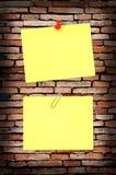 желтый цвет стены примечания кирпича старый Стоковое Изображение RF
