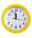 желтый цвет стены часов Стоковые Изображения