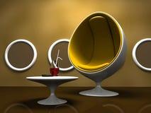 желтый цвет таблицы стула нутряной самомоднейший Стоковые Изображения
